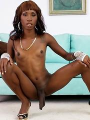 Ebony shemale Tameka exposing her goods