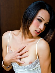Athletic t-girl parades her well toned love muscle