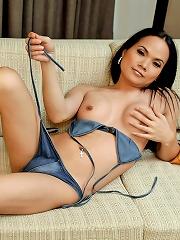 Young curvy Thai ladyboy shoots her cum